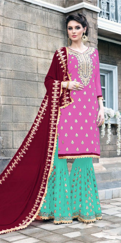pink-seagreen-color-stylish-gota-patti-pattern-sharara-salwar-suit-with-heavy-work