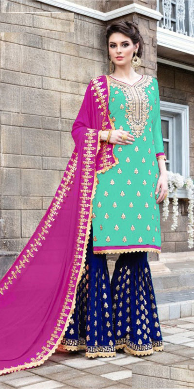 seagreen-blue-color-stylish-gota-patti-pattern-sharara-salwar-suit-with-heavy-work