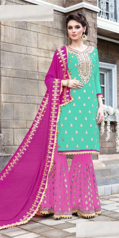 seagreen-pink-color-stylish-gota-patti-pattern-sharara-salwar-suit-with-heavy-work
