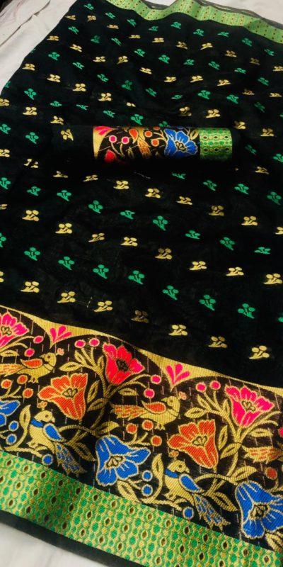 vibrant-black-color-chanderi-cotton-traditional-wear-superb-saree