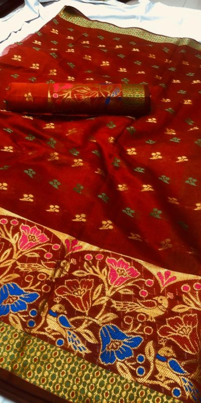 vibrant-red-color-chanderi-cotton-traditional-wear-superb-saree