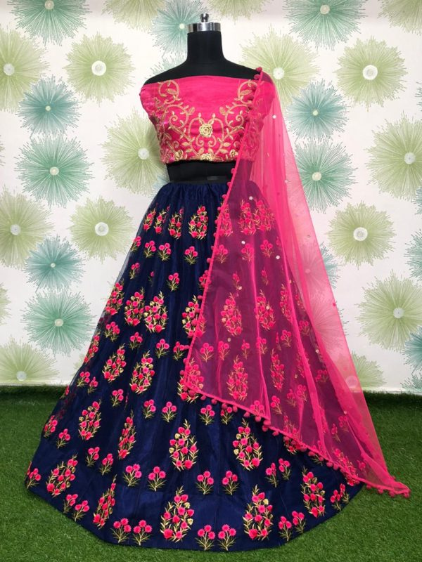 zari-and-classic-embroidery-work-navy-blue-color-heavy-net-party-wear-lehnga-choli