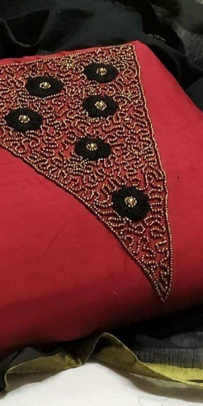 alluring-red-black-color-modal-chanderi-silk-wedding-wear-salwar-suit