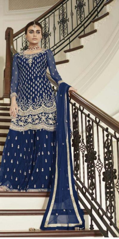 divine-blue-color-heavy-net-with-codding-embroidery-work-plazo-suit
