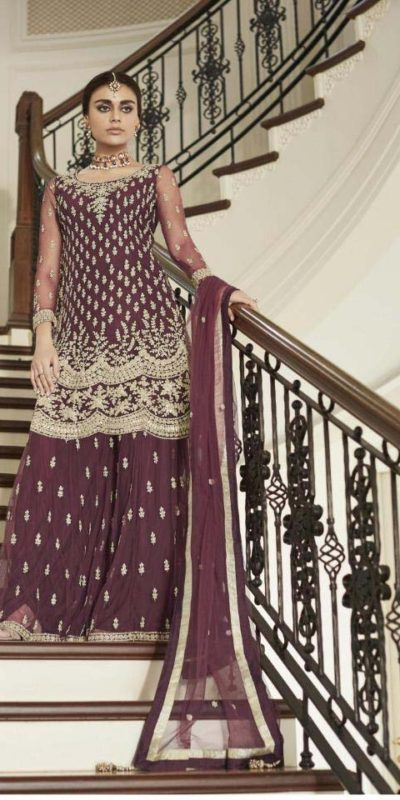 divine-brown-color-heavy-net-with-codding-embroidery-work-plazo-suit
