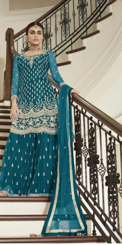 divine-peacock-blue-color-heavy-net-with-codding-embroidery-work-plazo-suit