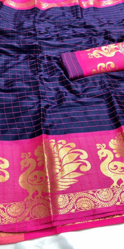 intoxicating-blue-color-pure-cotton-traditional-wedding-wear-saree