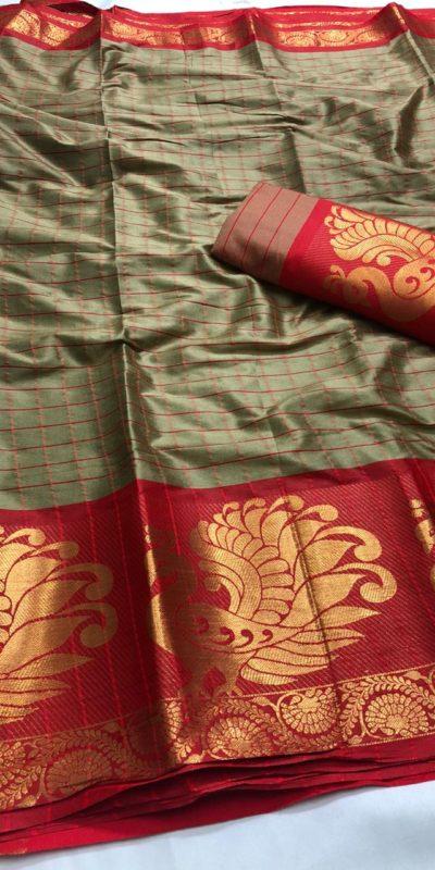 intoxicating-grey-color-pure-cotton-traditional-wedding-wear-saree