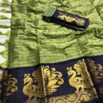intoxicating-olive-green-color-pure-cotton-traditional-wedding-wear-saree