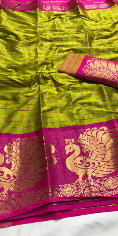 intoxicating-pear-green-color-pure-cotton-traditional-wedding-wear-saree
