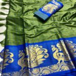 intoxicating-pickle-green-color-pure-cotton-traditional-wedding-wear-saree