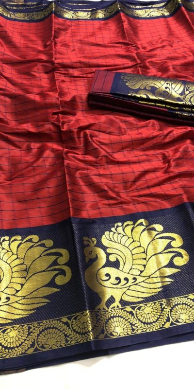 intoxicating-red-color-pure-cotton-traditional-wedding-wear-saree