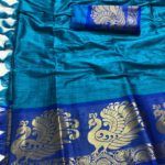 intoxicating-royal-blue-color-pure-cotton-traditional-wedding-wear-saree
