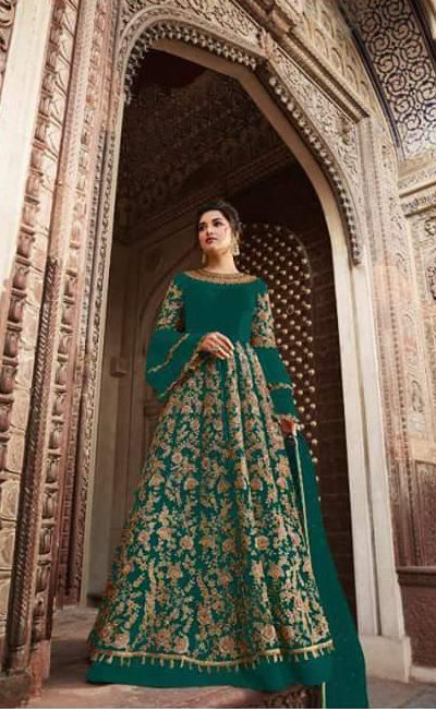 peacock-blue-color-heavy-net-cordingstone-work-wedding-anarkali-suit