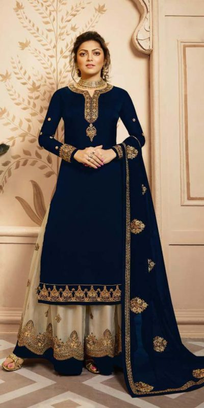 perfect-oxford-blue-color-satin-georgette-and-cording-work-dual-style-salwar-lehenga