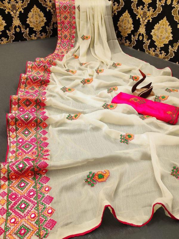 stunning-cream-color-moss-chiffon-soft-silk-wedding-party-wear-saree