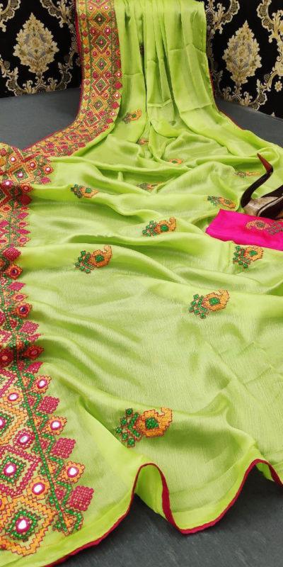 stunning-green-color-moss-chiffon-soft-silk-wedding-party-wear-saree
