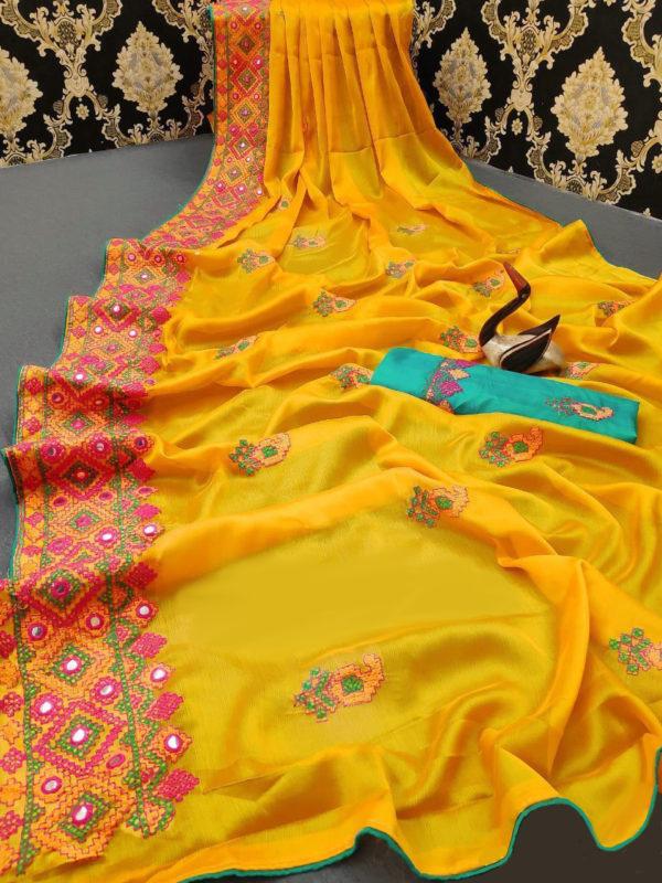 stunning-yellow-color-moss-chiffon-soft-silk-wedding-party-wear-saree