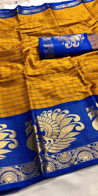 vibrant-yellow-color-chanderi-cotton-traditional-wear-superb-saree