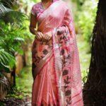 Luscious Multi Pink Color Linen Designer Digital Print Saree