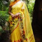 Luscious Multi Yellow Color Linen Designer Digital Print Saree
