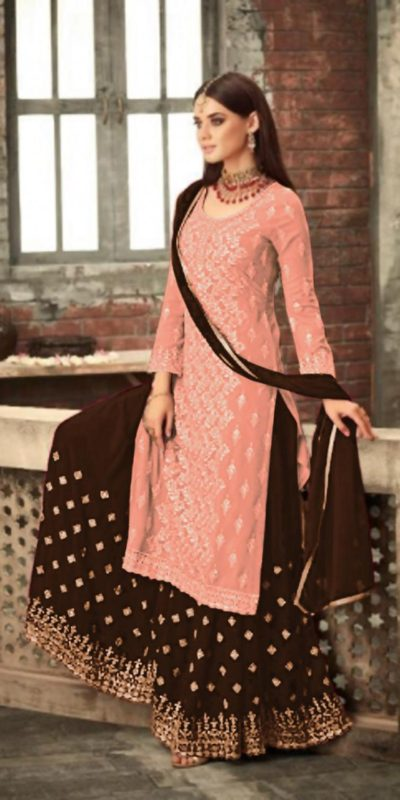 adorable-Orange -color-party-wear-georgette-sharara-suit