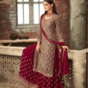 adorable-Red -color-party-wear-georgette-sharara-suit