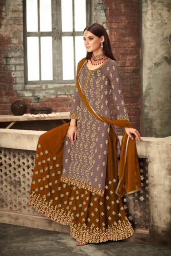 adorable-brown-yellow-color-party-wear-georgette-sharara-suit