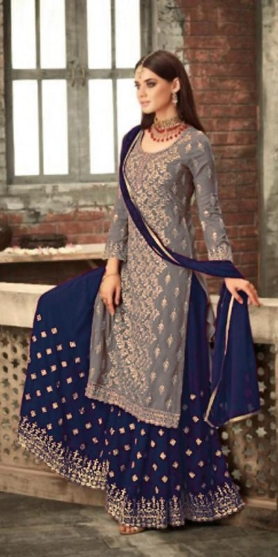 adorable-grey-blue-color-party-wear-georgette-sharara-suit
