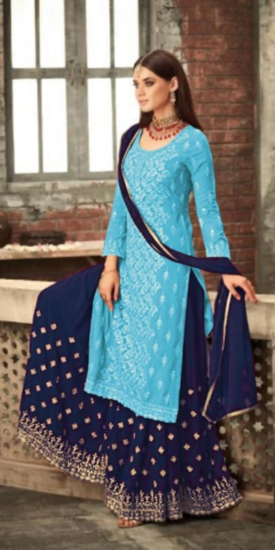 adorable-sky-blue-color-party-wear-georgette-sharara-suit