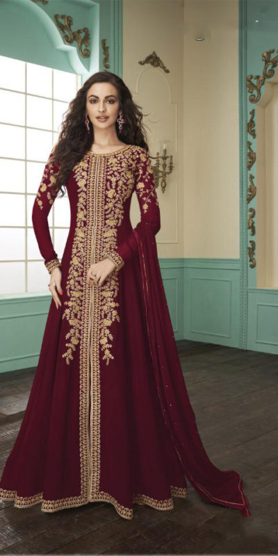 divine-red-color-heavy-fox-georgette-stone-work-traditional-wear-anarkali-suit