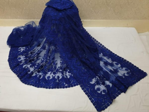 exotic-Blue -color-heavy-mono-net-with-beautiful-stone-work-saree