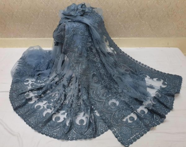 exotic-Stone Blue-color-heavy-mono-net-with-beautiful-stone-work-saree