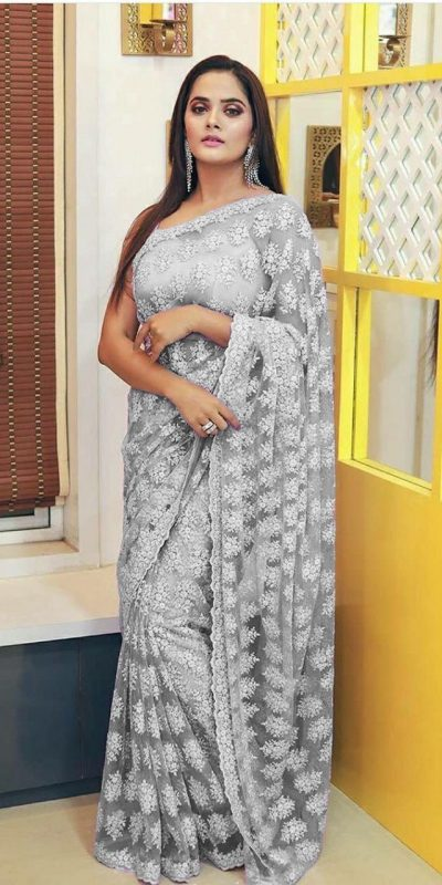Grey Color Heavy Soft Pure Net Embroidery Chain Work Women's Wear Saree