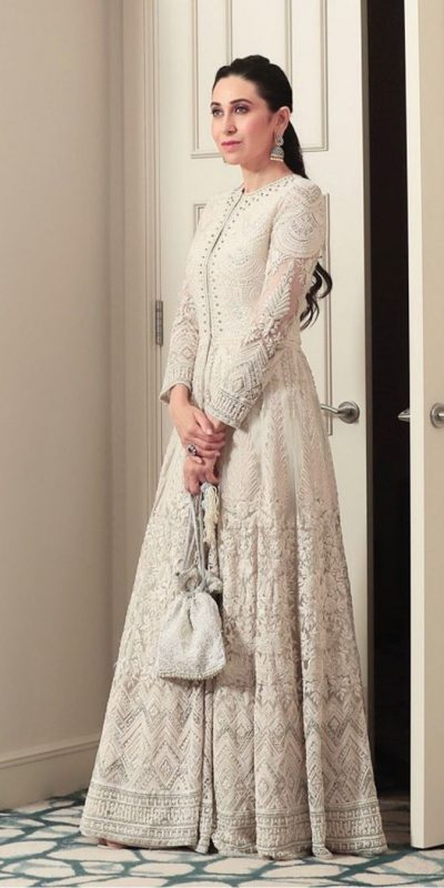 Karishma Kapoor Off White Color Georgette Embroidered Anarkali Suit