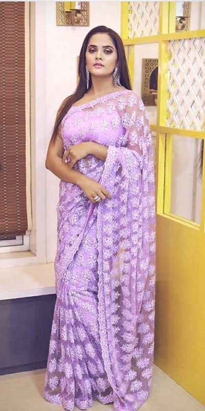 Light Purple Color Heavy Soft Pure Net Embroidery Chain Work Women's Wear Saree