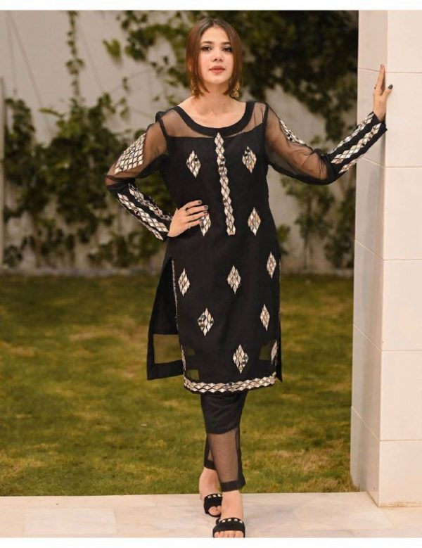 Navy Blue Color Real Mirror Embroidery Work Salwar Suit (2)