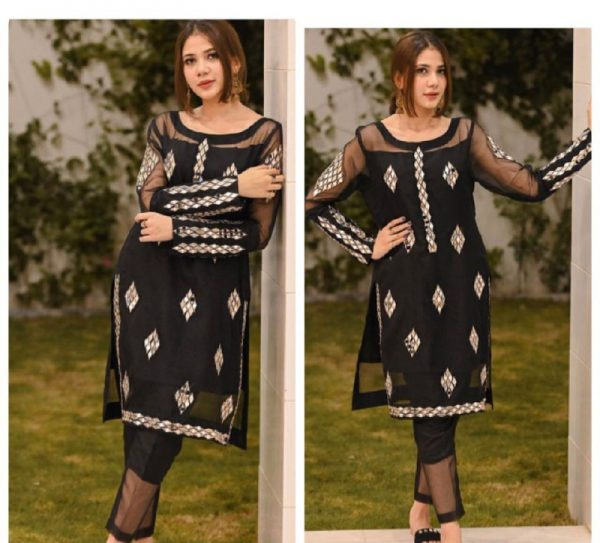 Navy Blue Color Real Mirror Embroidery Work Salwar Suit