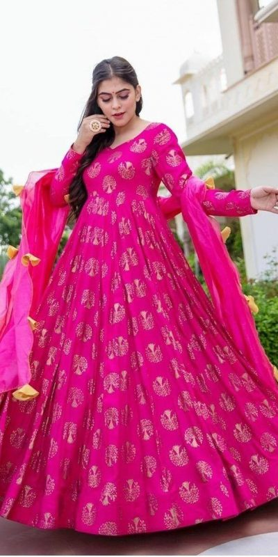 Pink Color Heavy Smooth Rayon With Hand Work Foil Print Long Length Gown