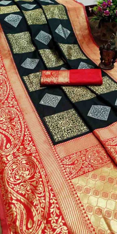 Pure Jacquard Silk Black Color Classy Traditional Wear Saree For Women's