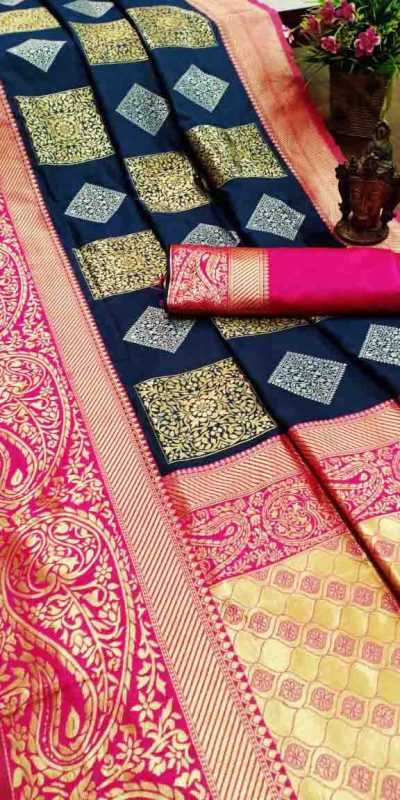 Pure Jacquard Silk Blue Color Classy Traditional Wear Saree For Women's