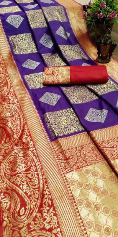 Pure Jacquard Silk Violet Color Classy Traditional Wear Saree For Women's