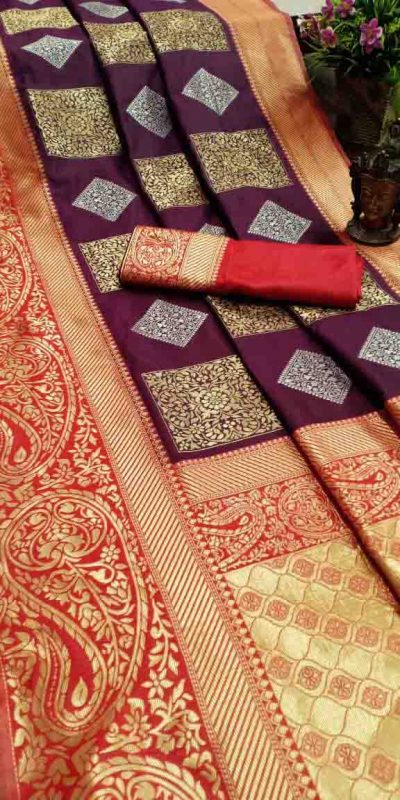 Pure Jacquard Silk Wine Color Classy Traditional Wear Saree For Women's