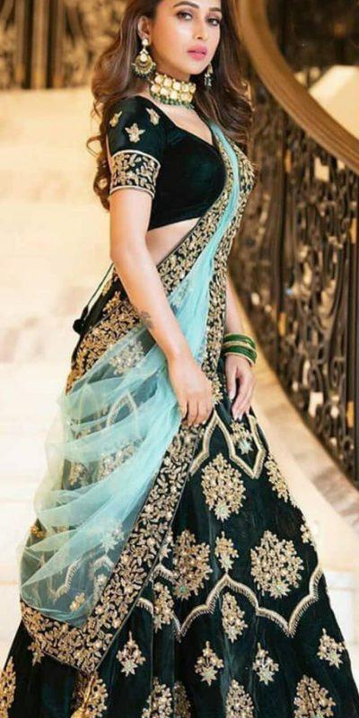 amazing-lehenga-for-womens-in-green-color-with-heavy-velvet-choli