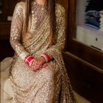 angelic-gold-color-fancy-thread-sequence-work-party-wear-saree