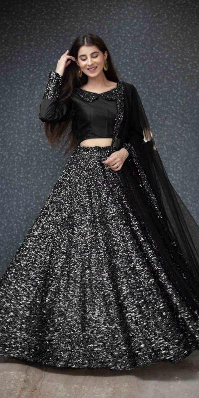 black-color-full-sequence-heavy-velvet-lehenga-choli