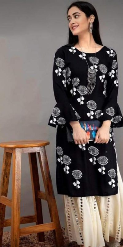 black-color-heavy-rayon-floral-kurta-for-women