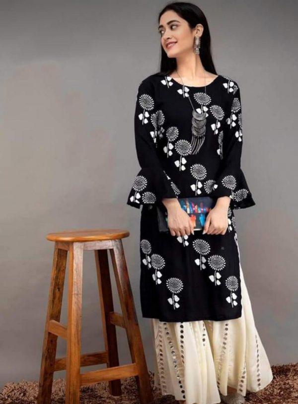 black-color-heavy-rayon-floral-kurta-for-women