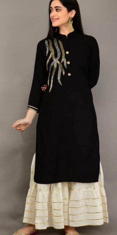 black-color-heavy-rayon-having-designer-kurti-with-plazzo