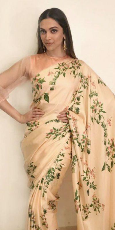 deepika-beautiful-look-in-cream-color-american-crepe-silk-saree